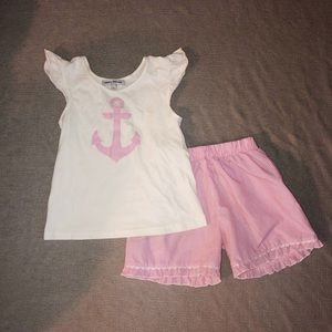 Sweet Dreams Seersucker Anchor Appliqué Outfit